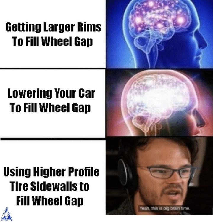 """""""Getting larger rims to fill the wheel gap. Lowering your car to fill the wheel gap. Using higher profile tire sidewalls to fill the wheel gap. Yeah, this is big brain time."""""""