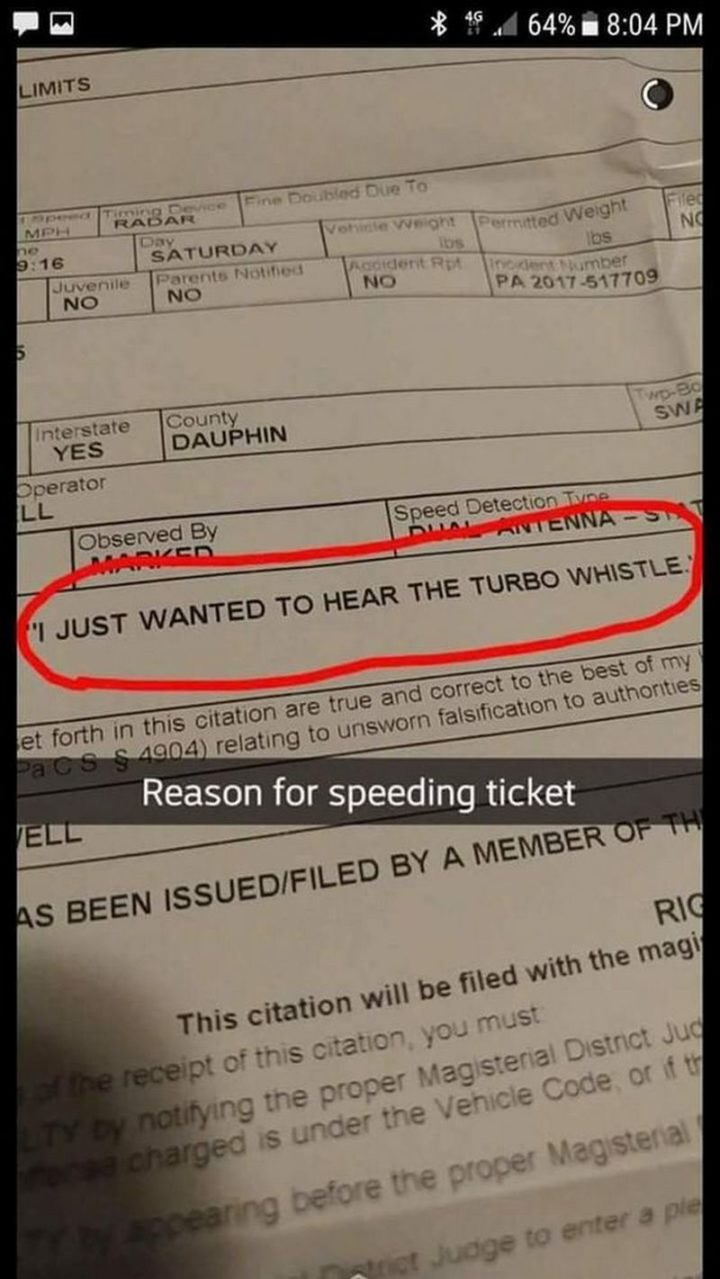 "85 Car Memes - ""Reason for speeding ticket: I just wanted to hear the turbo whistle."""