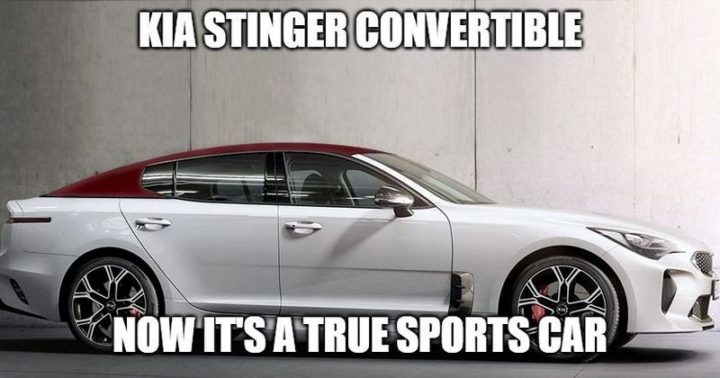 "85 Car Memes - ""Kia Stinger Convertible. Now it's a true sports car."""
