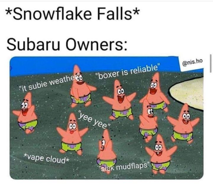 "85 Car Memes - ""*Snowflake falls* Subaru owners: It subie weather. Boxer is reliable. Yee yee. Vape cloud. Sick mudflaps."""