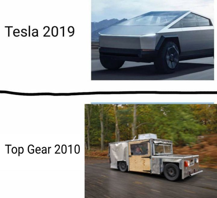 """Tesla 2019. Top Gear 2010."""