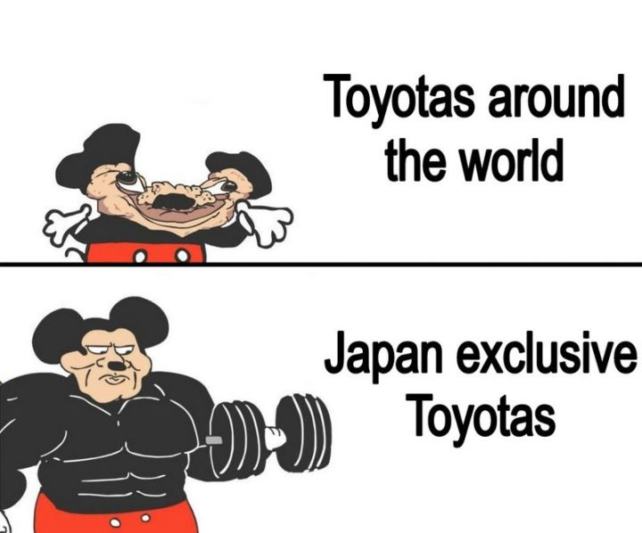"85 Car Memes - ""Toyotas around the world VS Japan-exclusive Toyotas."""