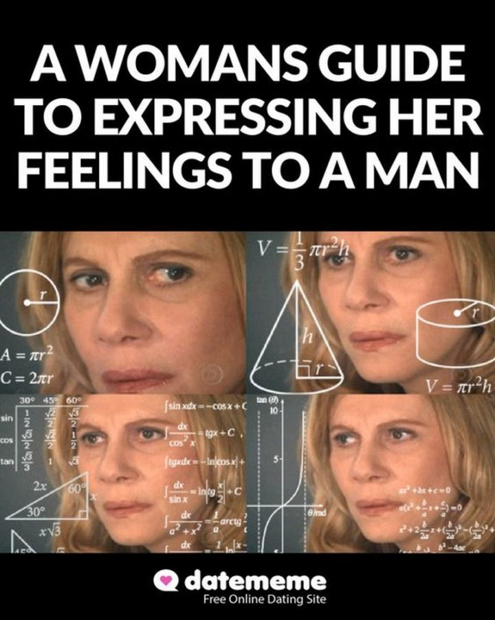 """65 Funny Dating Memes - """"A woman's guide to expressing her feelings to a man."""""""