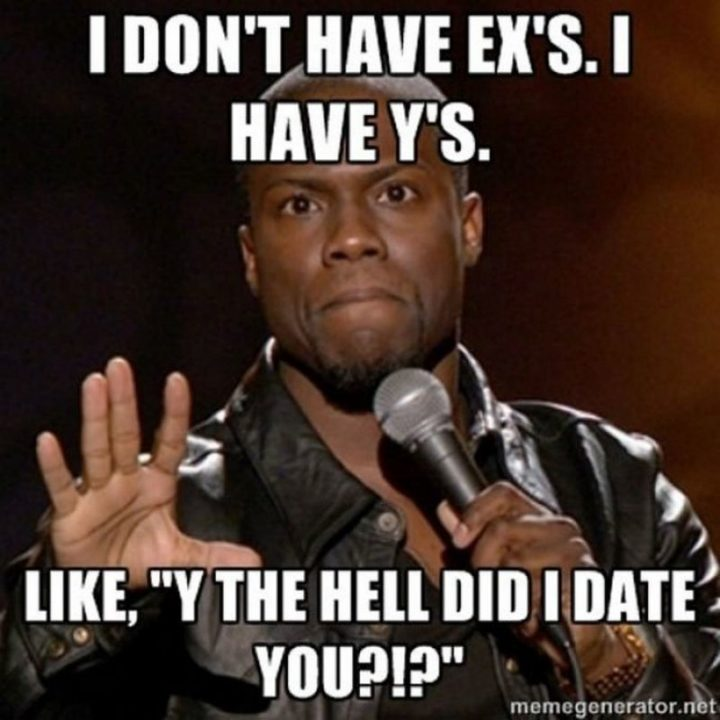 """65 Funny Dating Memes - """"I don't have exes. I have y's. Like, 'Y the hell did I date you?!?'"""""""