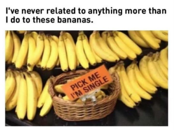 """65 Funny Dating Memes - """"I've never related to anything more than I do to these bananas: Pick me I'm single."""""""