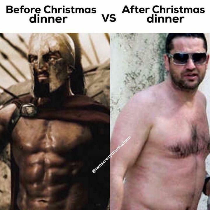 """65 Gym Memes - """"Before Christmas dinner vs after Christmas dinner."""""""