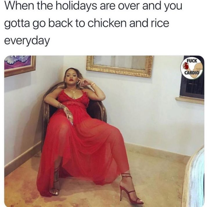 """65 Gym Memes - """"When the holidays are over and you gotta go back to chicken and rice every day."""""""