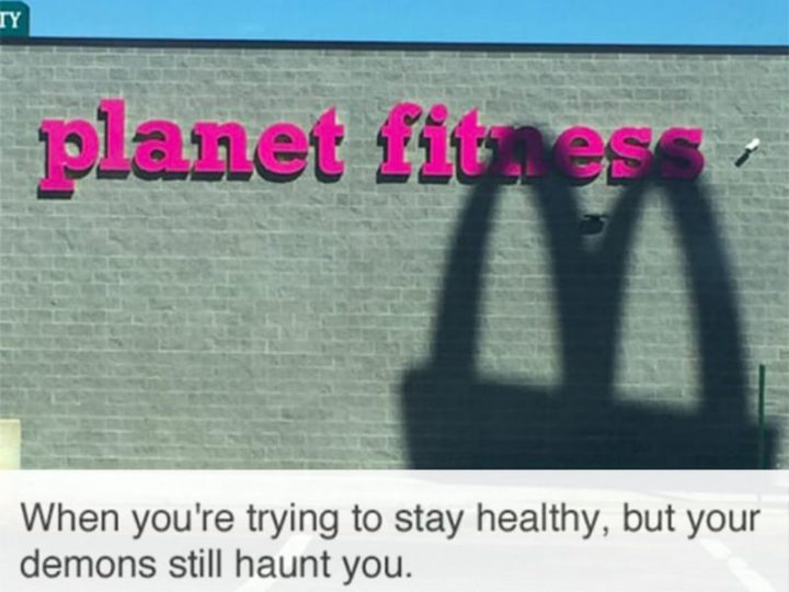 """65 Gym Memes - """"When you're trying to stay healthy, but your demons still haunt you."""""""