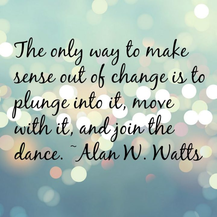 """""""The only way to make sense out of change is to plunge into it, move with it, and join the dance."""" - Alan W. Watts"""