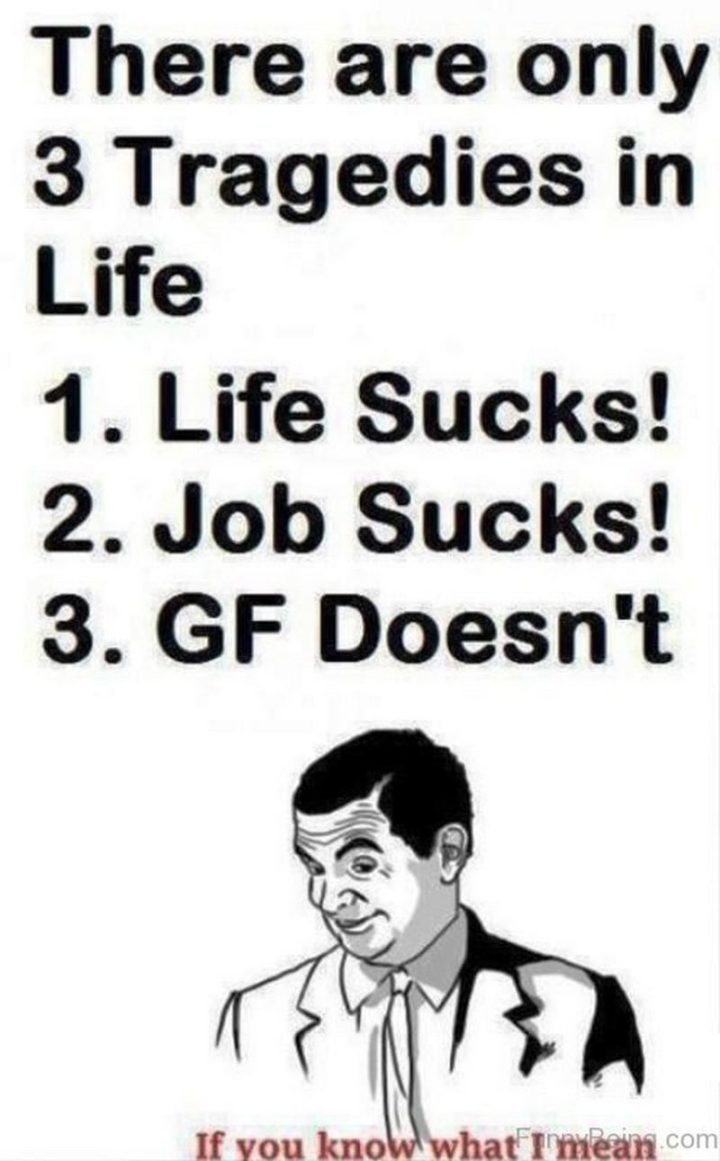 """""""There are only 3 tragedies in life: 1) Life sucks! 2) Job sucks! 3) GF doesn't...If you know what I mean."""""""