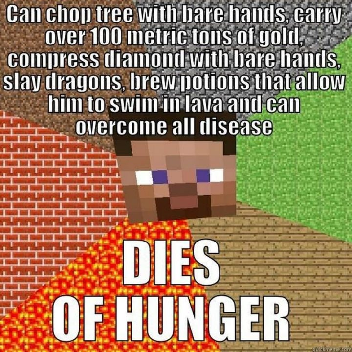 "85 Minecraft Memes - ""Can chop trees with bare hands, carry over 100 metric tons of gold, compress diamond with bare hands, slay dragons, brew potions that allow him to swim in lava and can overcome all disease. Dies of hunger."""