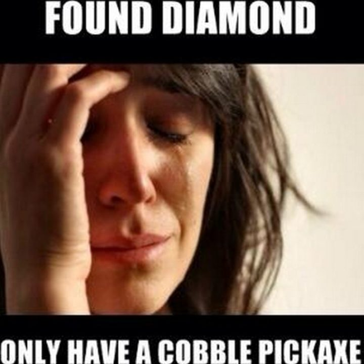 "85 Minecraft Memes - ""Found diamond. Only have a cobble pickaxe."""