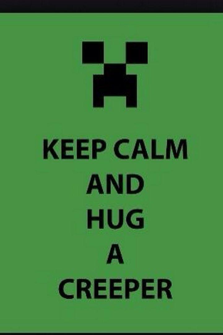"85 Minecraft Memes - ""Keep calm and hug a creeper."""