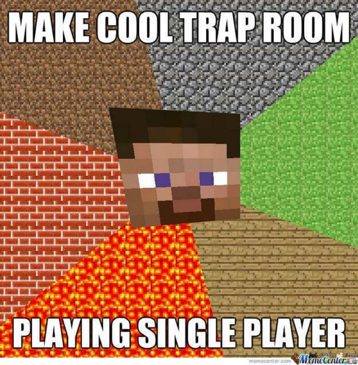 "85 Minecraft Memes - ""Make a cool trap room. Playing single player."""