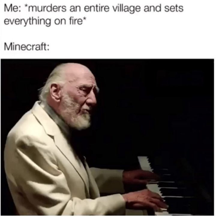 "85 Minecraft Memes - ""Me: *murders an entire village and sets everything on fire* Minecraft:"""