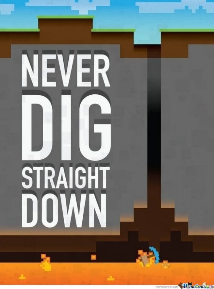 "85 Minecraft Memes - ""Never dig straight down."""