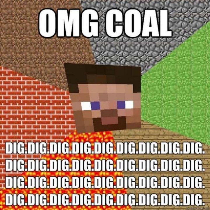 """85 Minecraft Memes - """"OMG coal. Dig."""""""