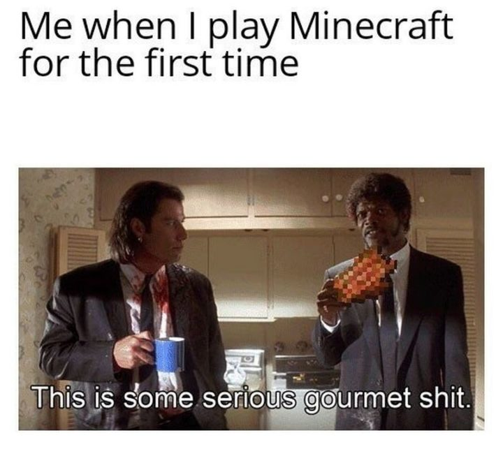"85 Minecraft Memes - ""Me when I play Minecraft for the first time: This is some serious gourmet $#!t."""