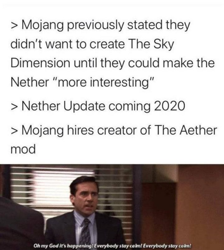 "85 Minecraft Memes - ""Mojang previously stated they didn't want to create The Sky Dimension until they could make the Nether 'more interest.' Nether update coming 2020. Mojang hires creator of The Aether mod: Oh my God, it's happening! Everybody stay calm! Everybody stay calm!"""
