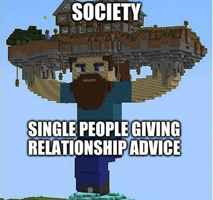 "85 Minecraft Memes - ""Society and single people giving relationship advice."""