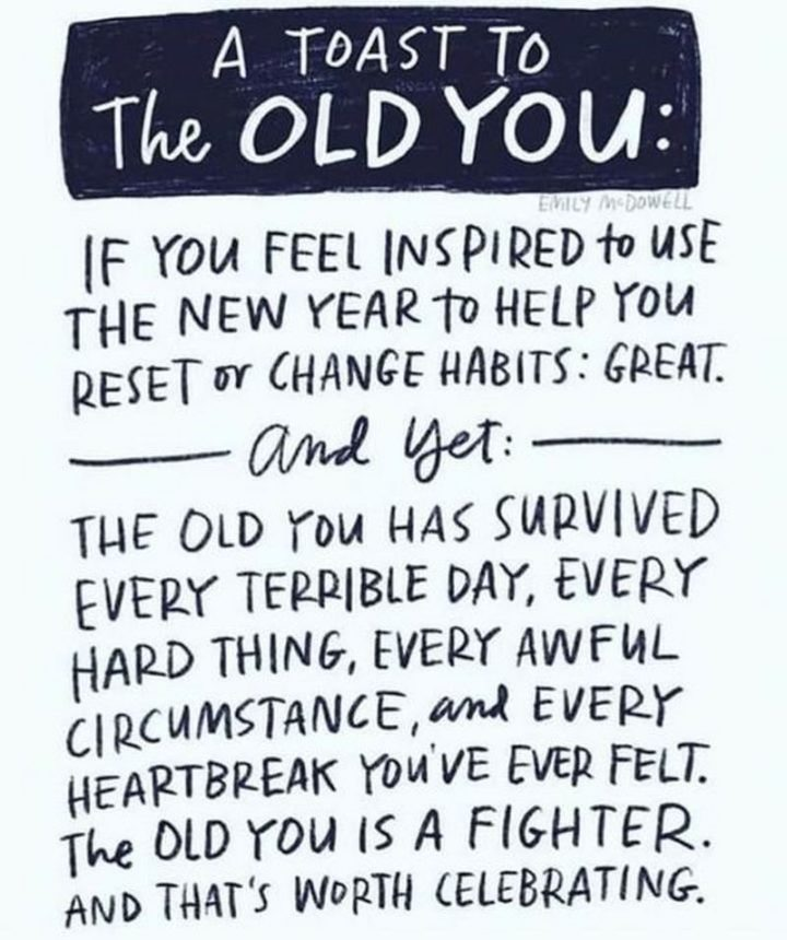 """67 Motivational Memes - """"A toast to the old you: If you feel inspired to use the new year to help you reset or change habits: Great. And yet: The old you has survived every terrible day, every hard thing, every awful circumstance, and every heartbreak you've ever felt. The old you is a fighter. And that's worth celebrating."""""""