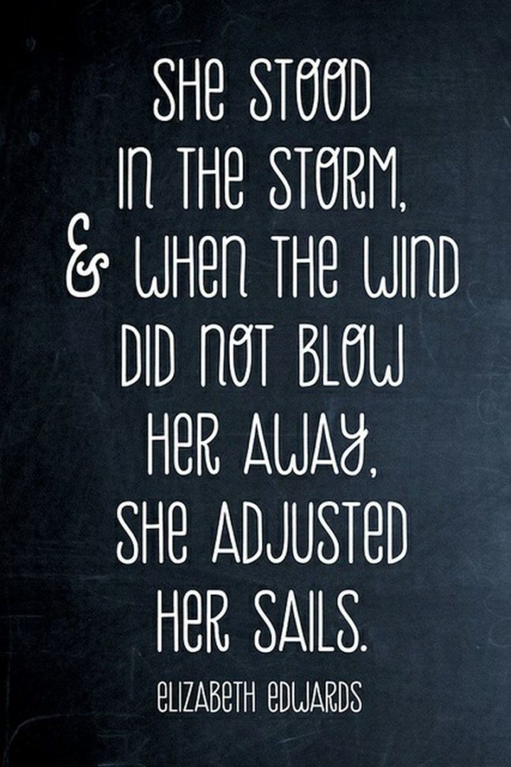 """67 Motivational Memes - """"She stood in the storm, and when the wind did not blow her away, she just adjusted her sails."""" - Elizabeth Edwards"""