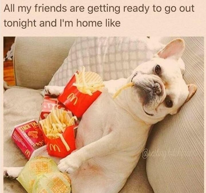 "67 Funny Single Memes - ""All my friends are getting ready to go out tonight and I'm at home like."""