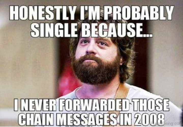 "67 Funny Single Memes - ""Honestly I'm probably single because...I never forwarded those chain messages in 2008."""
