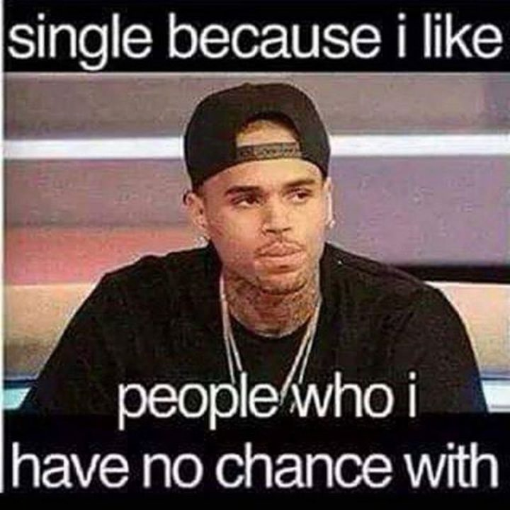 "67 Funny Single Memes - ""Single because I like people who I have no chance with."""