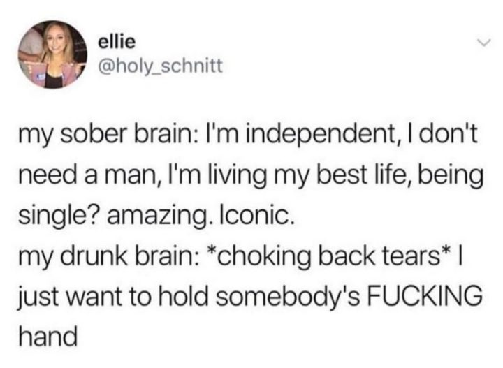 "67 Funny Single Memes - ""My sober brain: I'm independent, I don't need a man, I'm living my best life, being single? Amazing. Iconic. My drunk brain: *choking back tears* I just want to hold somebody's [censored] hand."""