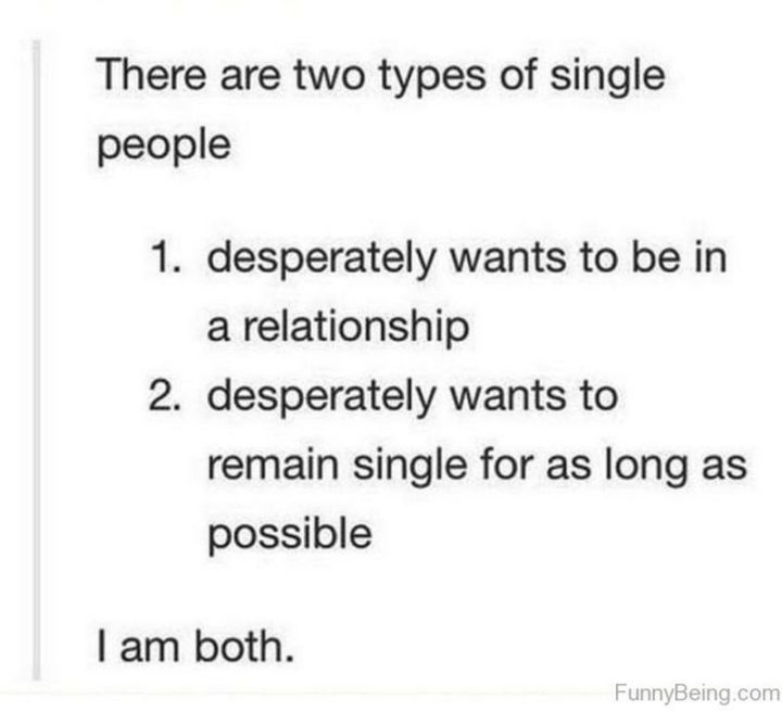 "67 Funny Single Memes - ""There are two types of single people: 1) Desperately wants to be in a relationship. 2) Desperately wants to remain single for as long as possible. I am both."""