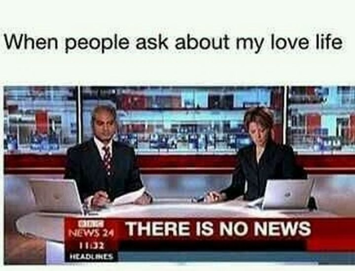 "67 Funny Single Memes - ""When people ask about my love life: There is no news."""