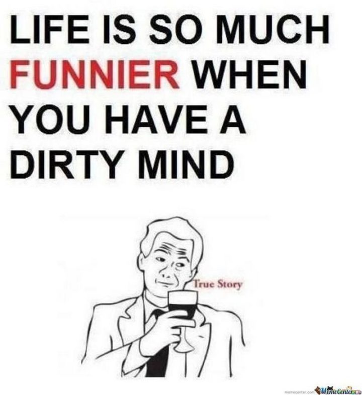 "71 Funny Dirty Memes - ""Life is so much funnier when you have a dirty mind. True story."""