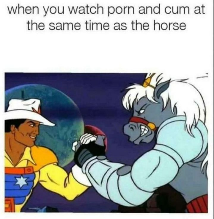 "71 Funny Dirty Memes - ""When you watch [censored] and [censored] at the same time as the horse."""
