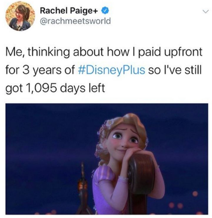 "51 Funny Disney Memes - ""Me, thinking about how I paid upfront for 3 years of Disney+ so I've still got 1,095 days left."""