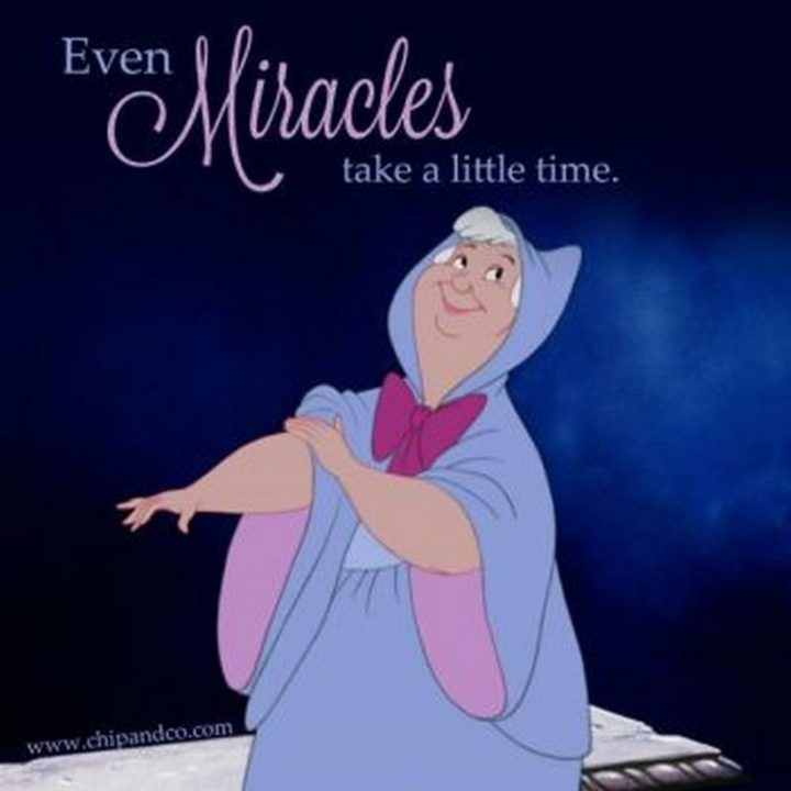 "61 Inspirational Disney Quotes - ""Even miracles take a little time."" - Fairy Godmother"