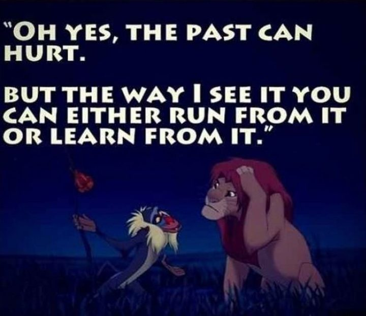 "61 Inspirational Disney Quotes - ""Oh yes, the past can hurt. But, the way I see it, you can either run from it… or learn from it."" - Rafiki"