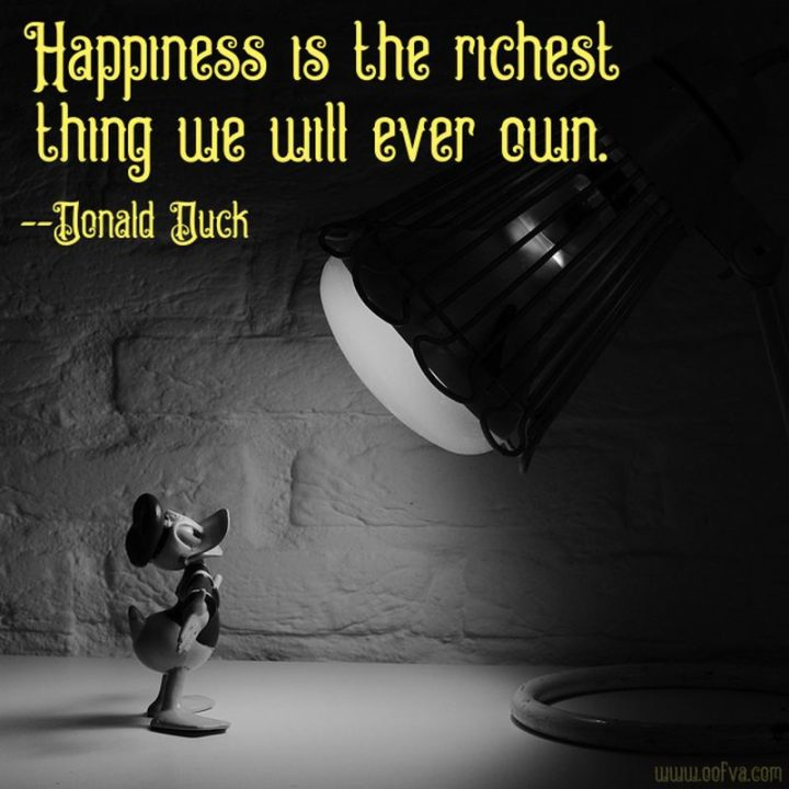"61 Inspirational Disney Quotes -  ""Happiness is the richest thing we will ever own."" - Donald Duck"