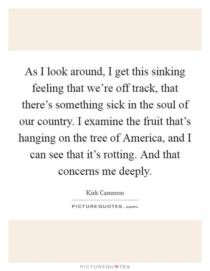 "53 Sick Quotes - ""As I look around, I get this sinking feeling that we're off track, that there's something sick in the soul of our country. I examine the fruit that's hanging on the tree of America, and I can see that it's rotting. And that concerns me deeply."" - Sick quotes by Kirk Cameron"