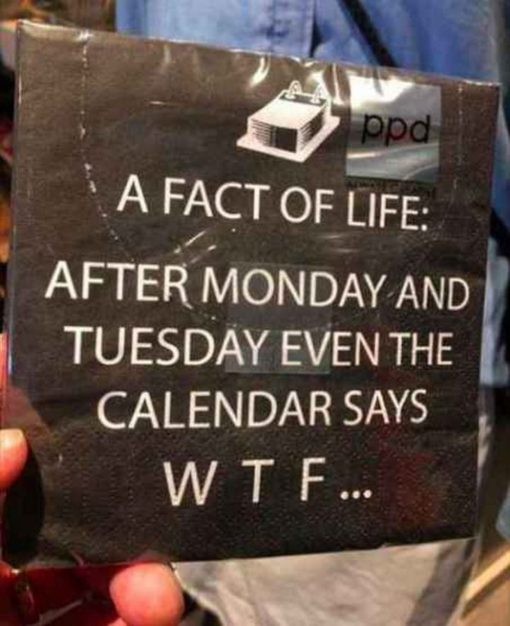 "101 Tuesday Memes - ""A fact of life: After Monday and Tuesday even the calendar says WTF..."""