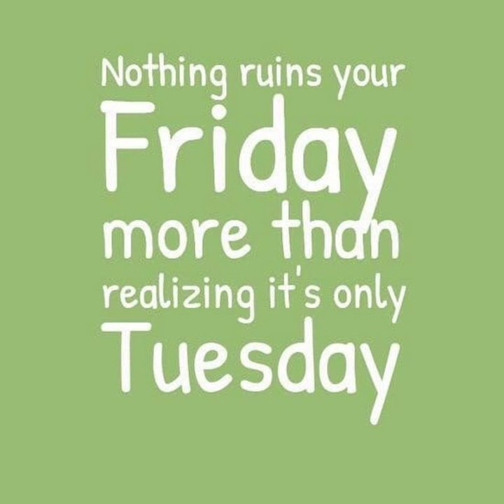 "101 Tuesday Memes - ""Nothing ruins your Friday more than realizing it's only Tuesday."""