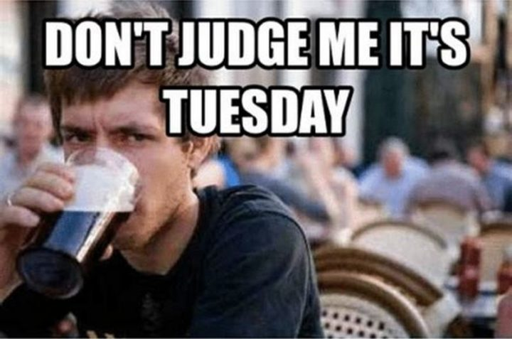 "101 Tuesday Memes - ""Don't judge me it's Tuesday."""