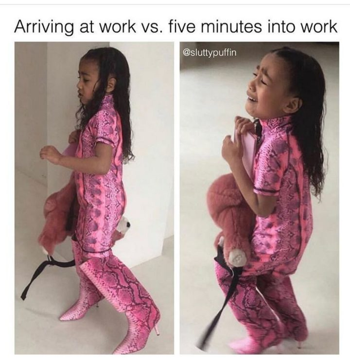 """""""Arriving at work vs. five minutes into work."""""""