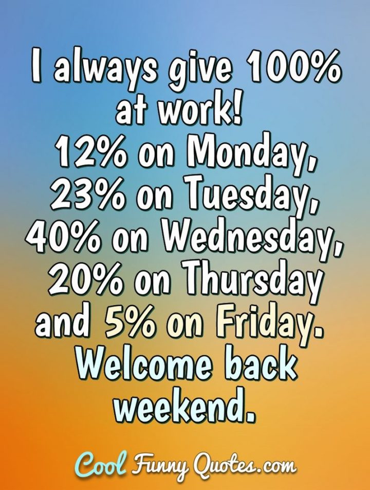 "47 Friday Quotes - ""I always give 100% at work: 12% on Monday, 23% on Tuesday, 40% on Wednesday, 20% on Thursday, and 5% on Friday. Welcome back weekend."" - Anonymous"