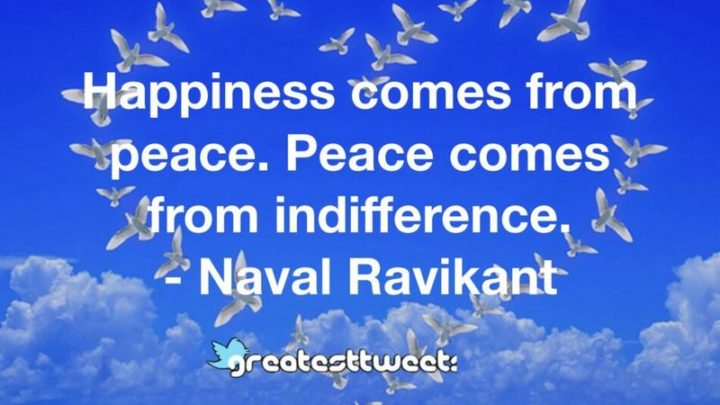 "53 Happy Quotes - ""Happiness comes from peace. Peace comes from indifference."" - Naval Ravikant"