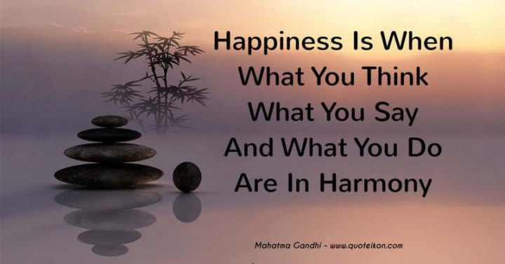 "53 Happy Quotes - ""Happiness is when what you think, what you say, and what you do are in harmony."" - Mahatma Gandhi"