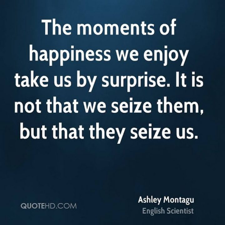 "53 Happy Quotes - ""The moments of happiness we enjoy take us by surprise. It is not that we seize them, but that they seize us."" - Ashley Montagu"