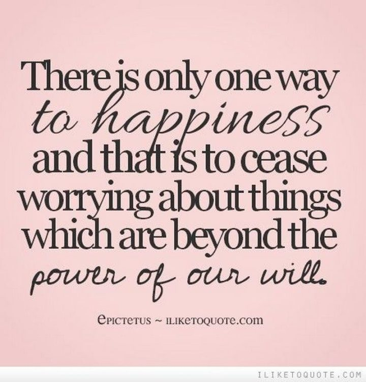 "53 Happy Quotes - ""There is only one way to happiness and that is to cease worrying about things which are beyond the power of our will."" - Epictetus"