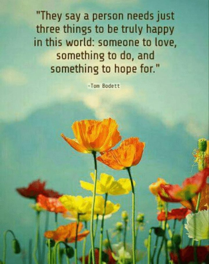 "53 Happy Quotes - ""They say a person needs just three things to be truly happy in this world: Someone to love, something to do, and something to hope for."" - Tom Bodett"