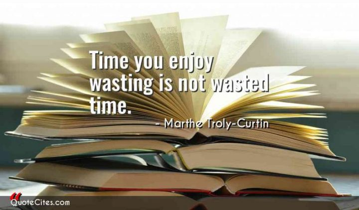 "53 Happy Quotes - ""Time you enjoy wasting is not wasted time."" - Marthe Troly-Curtin"